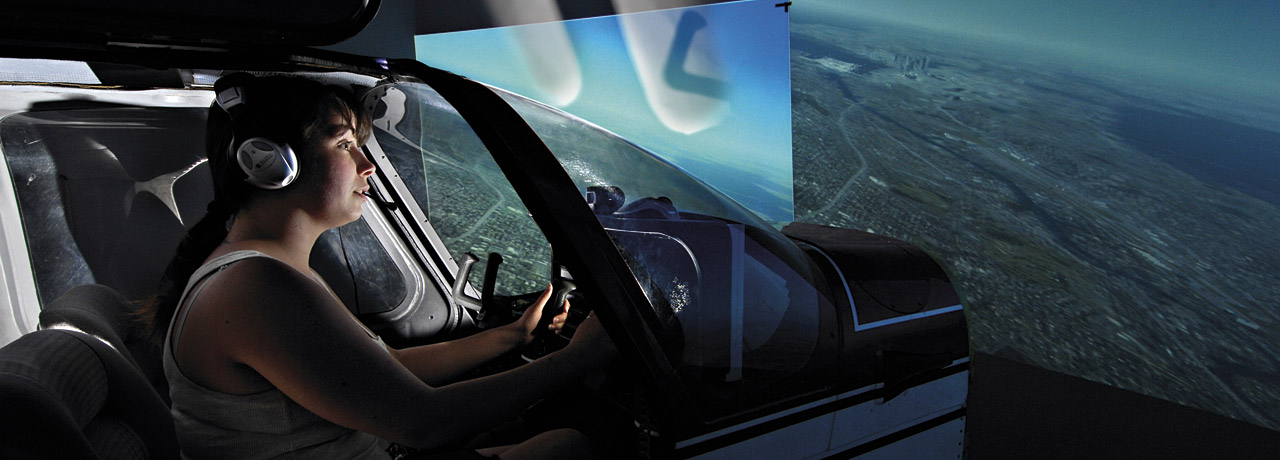 Student in a plane simulation