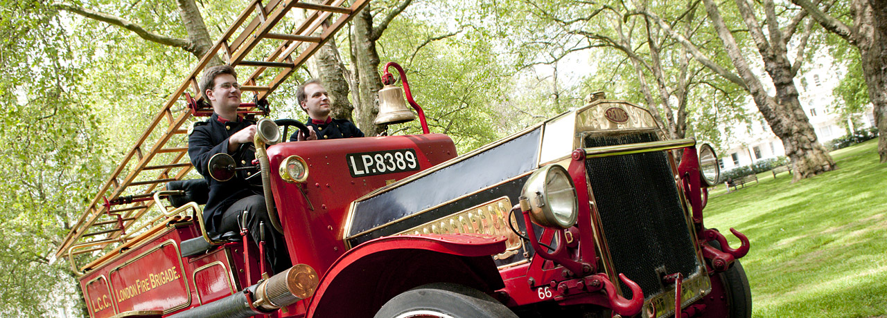A vintage fire engine at the College