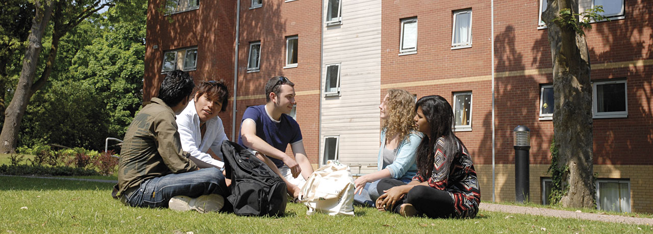 Students relax outside