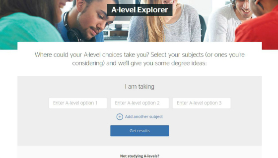 Which? University A-level explorer tool