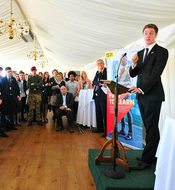 Adam speaking at the house of commons terrace pavilion 2017