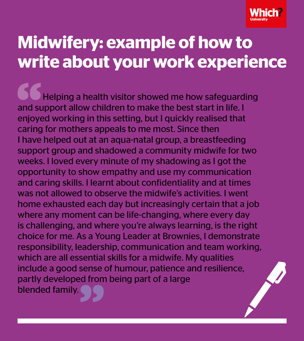 midwifery personal statement buzzwords