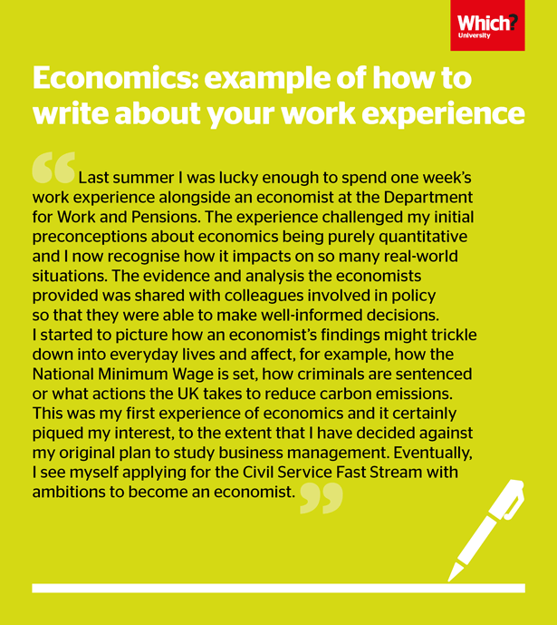 Example of how to relate your work experience to economics in your personal statement