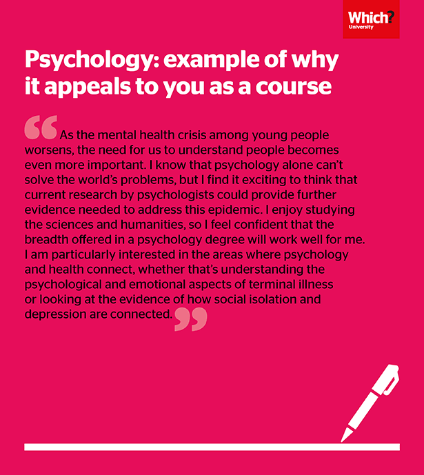 Example of how to write about why psychology appeals to you as a course