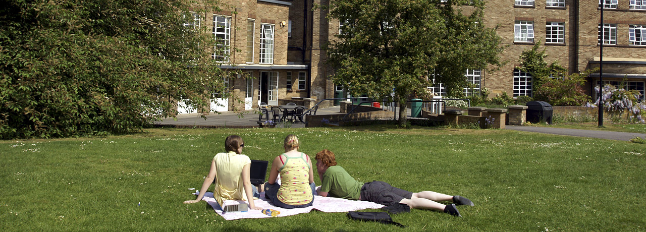 Students relaxing outside