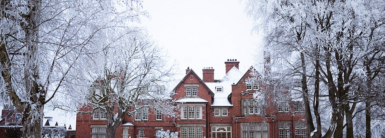 Main building in the snow
